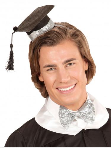 Diplomand Accessoire-Set Hut und Fliege silber