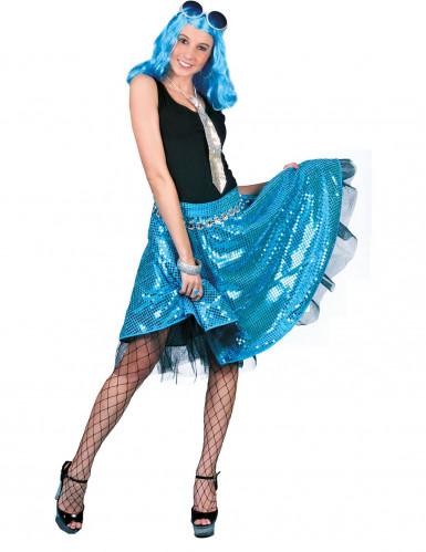 Disco-Rock mit Pailletten blau