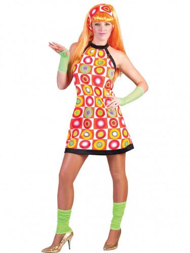 Retro-Kleid Karnevalkostüm für Damen orange-bunt