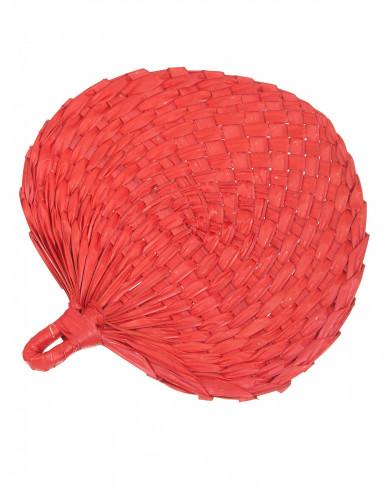 Fächer aus rotem Stroh für Erwachsene