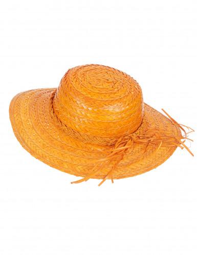 Vintage-Strohhut in Orange für Damen