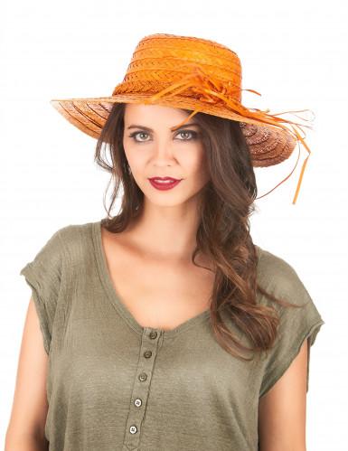 Vintage-Strohhut in Orange für Damen-1