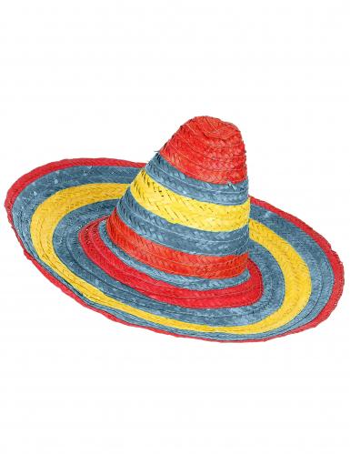 Mexikanischer Sombrero in Rot Grün und Gelb für Erwachsene