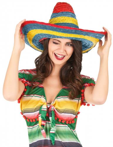 Mexikanischer Sombrero in Rot Grün und Gelb für Erwachsene-1