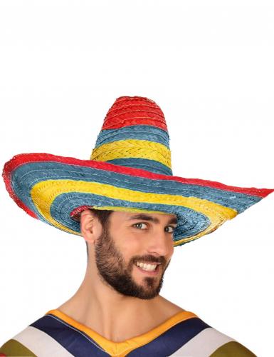 Mexikanischer Sombrero in Rot Grün und Gelb für Erwachsene-2