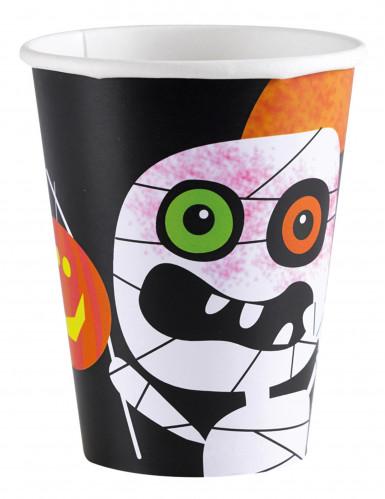 8 Halloween-Pappbecher Kleine Monster 266 ml