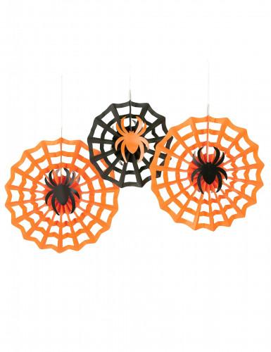 3 Spinnennetz-Rosetten zum Aufhängen an Halloween