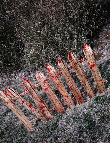 2 x Halloween-Dekoration Blutiger Zaun, 59 cm-1
