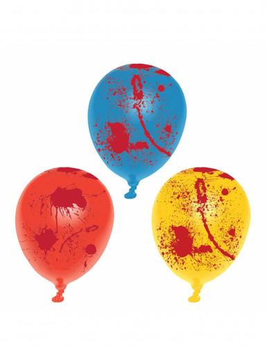 6 blutbespritzte Latex-Ballons für Halloween