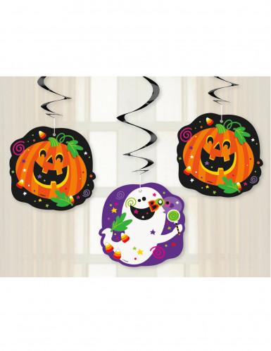 3 Halloween-Spiralgirlanden Kürbis und Co., 66 cm