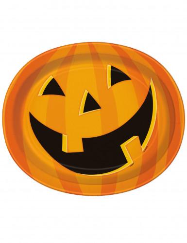 8 Servierplatten Lachender Halloween-Kürbis 30 x 25 cm