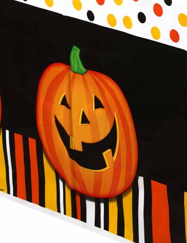 Halloween-Tischdecke Lachender Kürbis aus Plastik-1