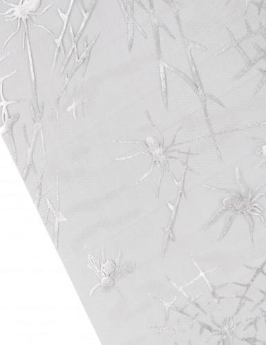 Halloween Tischläufer Spinnen-Motiv silber-1