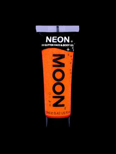 Orangefarbenes UV-Glitzergel für Körper und Gesicht von Moonglow 12ml-1