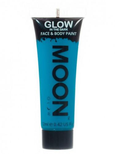 Blaue phosphoreszierende Schminkfarbe für Gesicht und Körper von Moonglow 12ml