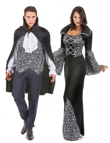 Schwarz-weiß Vampir Paarkostüm