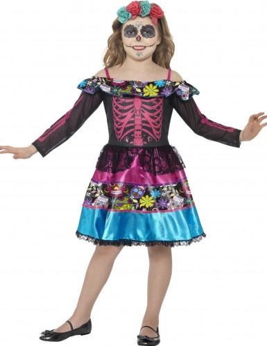 Buntes Skelettkostüm für Mädchen