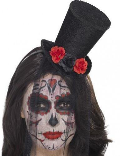 Mini-Hut Tag der Toten mit Rosen und Schleier für Damen