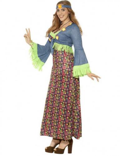70er Hippie Damenkostüm bunt-1
