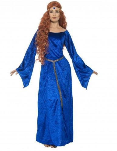 Mittelalterliche Königin Damenkostüm blau
