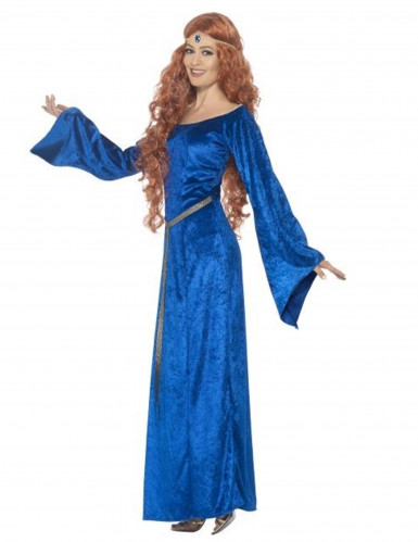 Mittelalterliche Königin Damenkostüm blau-1