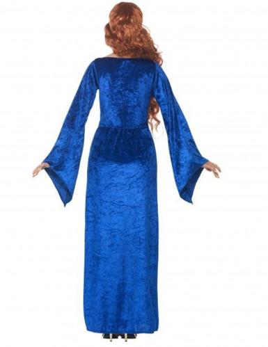 Mittelalterliche Königin Damenkostüm blau-2