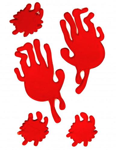 Blutige Handabdrücke und Blutflecken aus Gummi