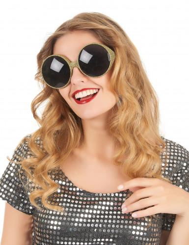 Runde Sonnenbrille mit Goldrand-1