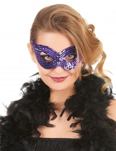 Augenmaske lila Pailletten