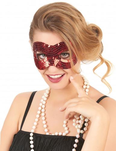 Maske mit roten Pailetten für Erwachsene