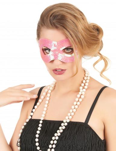 Augenmaske mit rosa Pailletten für Erwachsene