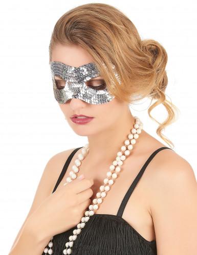 Silber glitzernde Augenmaske für Erwachsene