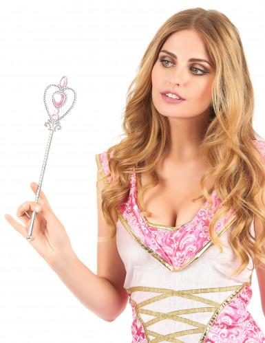 Silberner Zauberstab mit rosa Herz für Kinder und Erwachsene-1