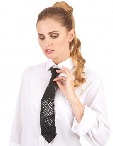 Schwarze Pailletten-Krawatte für Erwachsene-1