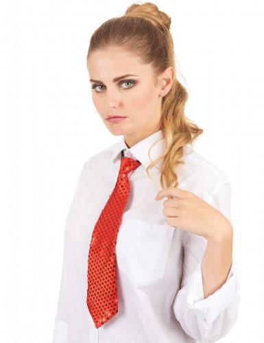 Pailletten-Krawatte für Erwachsene rot