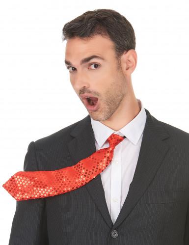 Pailletten-Krawatte für Erwachsene rot-1