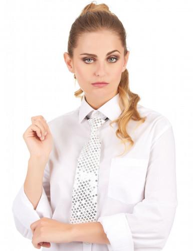 Weiße Krawatte mit Pailletten für Erwachsene-1