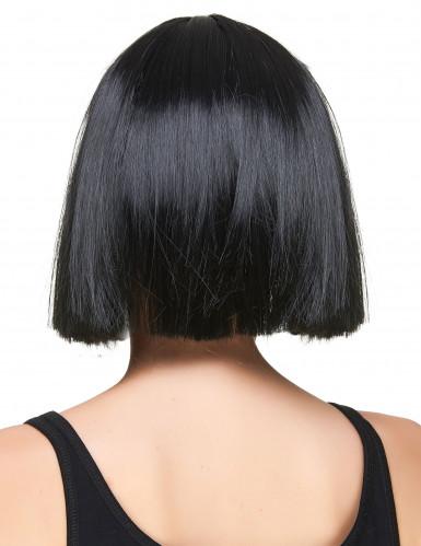 Perücke aus schwarzem Haar im Pony-Schnitt mit Fransen für Frauen-1