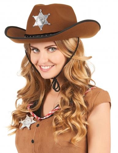 Hellbrauner Sheriff-Hut für Erwachsene-1