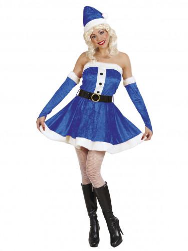 Blaues Weihnachtsfrau-Kostüm