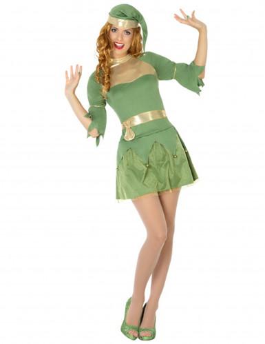 Weihnachtselfe Kostüm für Damen grün-gold