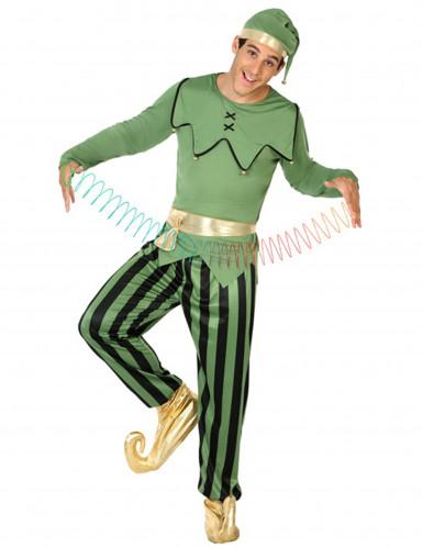 Weihnachtself Kostüm für Herren grün-gold