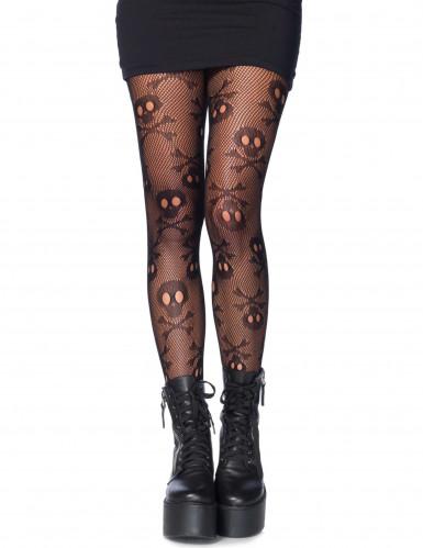 Halloween Strumpfhose Totenkopf für Damen