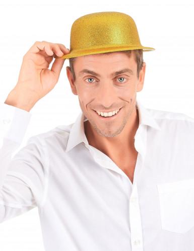 Hut Melone Kunststoff gold glitzernd für Erwachsene-2