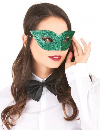 Venezianische Glitzer-Maske für Erwachsene grün