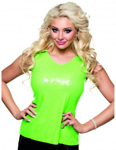 Grünes Top mit fluoreszierenden Pailletten für Damen