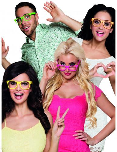 4 Spaßbrillen für Erwachsene Neonfarben