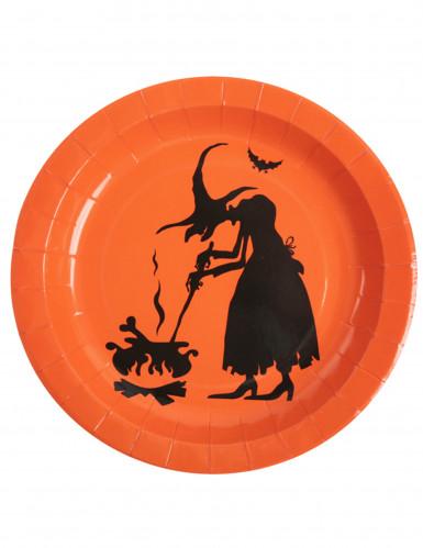 10 Halloween-Pappteller mit Hexen-Motiv
