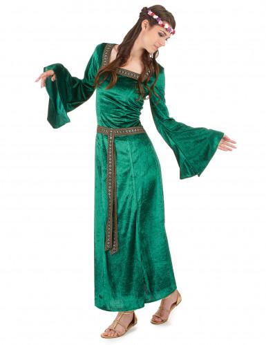 Grünes Mittelalter-Kostüm für Damen-1