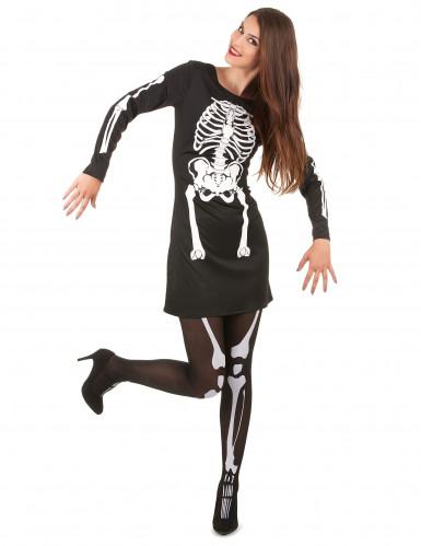 Skelett-Horror-Kostüm für Damen schwarz-weiss
